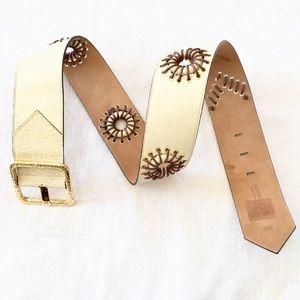 ROBERTO CAVALLI Beige Leather Embroidered Belt